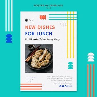 Pionowy szablon plakatu z daniami kuchni azjatyckiej