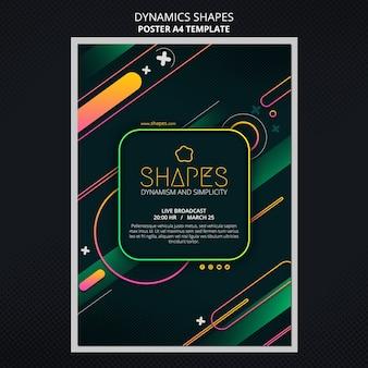 Pionowy szablon plakatu z dynamicznymi geometrycznymi kształtami neonowymi