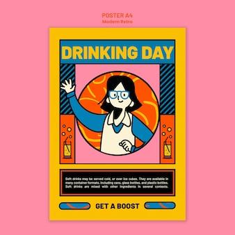 Pionowy szablon plakatu z nowoczesnym wzornictwem vintage na napoje bezalkoholowe