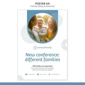 Pionowy szablon plakatu z rodziną i dziećmi