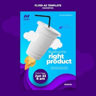Pionowy szablon ulotki dla firmy marketingowej z produktem