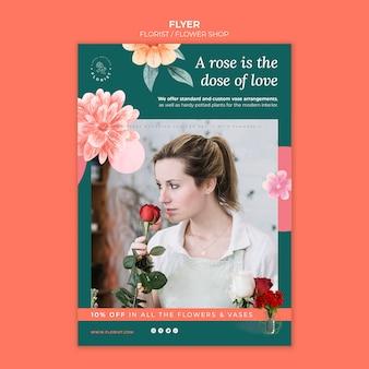 Pionowy szablon ulotki dla kwiaciarni