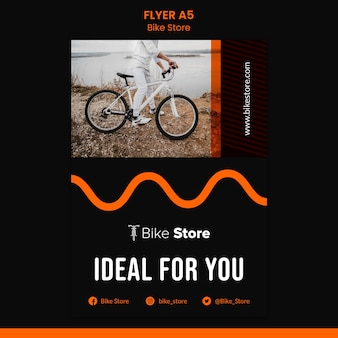 Pionowy szablon ulotki dla sklepu rowerowego