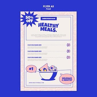 Pionowy szablon ulotki dla zdrowych posiłków
