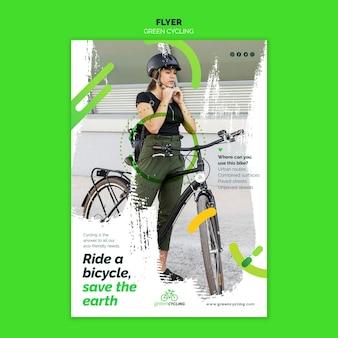 Pionowy szablon ulotki dla zielonych rowerów