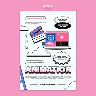 Pionowy szablon ulotki do animacji komputerowej