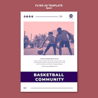 Pionowy szablon ulotki do gry w koszykówkę