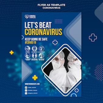 Pionowy szablon ulotki informujący o koronawirusie