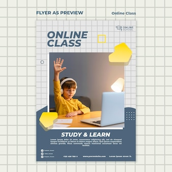 Pionowy szablon ulotki na zajęcia online z dzieckiem