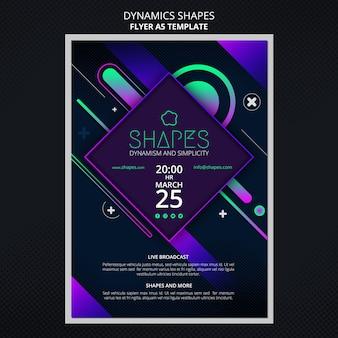 Pionowy szablon ulotki z dynamicznymi geometrycznymi kształtami neonowymi