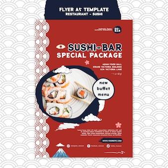 Pionowy szablon wydruku sushi