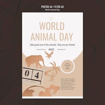 Pionowy szablon wydruku światowego dnia zwierząt