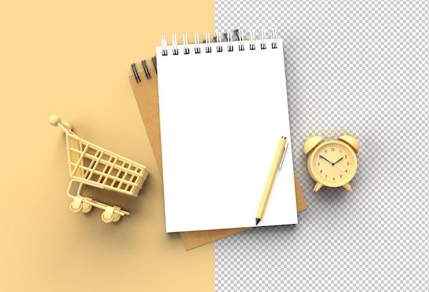 Pióro renderowania 3d i notatnik z budzikiem i przezroczystym plikiem psd koszyka na zakupy.