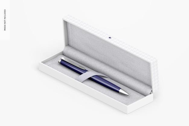 Pióro w pudełku prezentowym, izometryczny widok z lewej strony