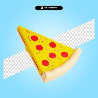 Pizza 3d render ilustracja na białym tle