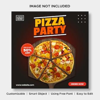 Pizza party jedzenie zniżki menu promocja social media instagram post banner szablon