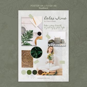 Plakat czasu relaksu z zielenią