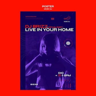 Plakat dj ustawia szablon reklamy na żywo