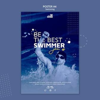 Plakat do nauki pływania ze zdjęciem