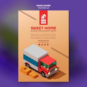 Plakat dotyczący usług związanych z przeniesieniem miejsca zamieszkania