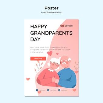 Plakat dzień dziadków szczęśliwy