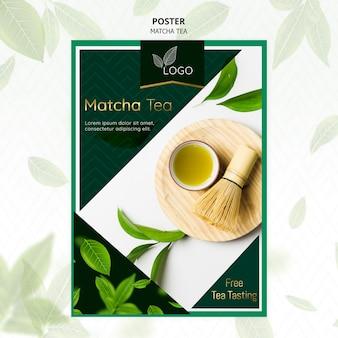 Plakat herbaty matcha z liśćmi