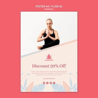 Plakat klas medytacyjnych ze zdjęciem kobiety ćwiczącej