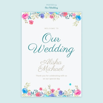 Plakat kolorowy ślub koncepcja