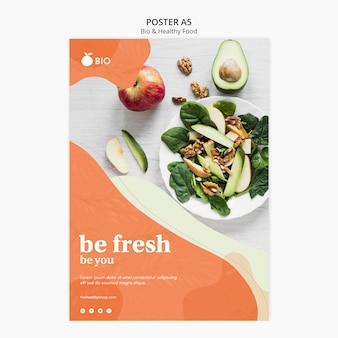 Plakat koncepcja bio i zdrowej żywności