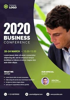 Plakat konferencji biznesowych z biznesmenem