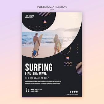 Plakat lekcji surfingu ze zdjęciem