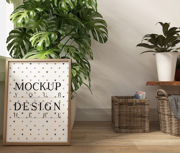 Plakat makiety w nowoczesnym białym salonie z doniczką na monstera