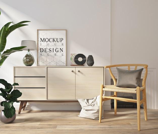 Plakat makiety w nowoczesnym białym salonie z fotelem i kredensem