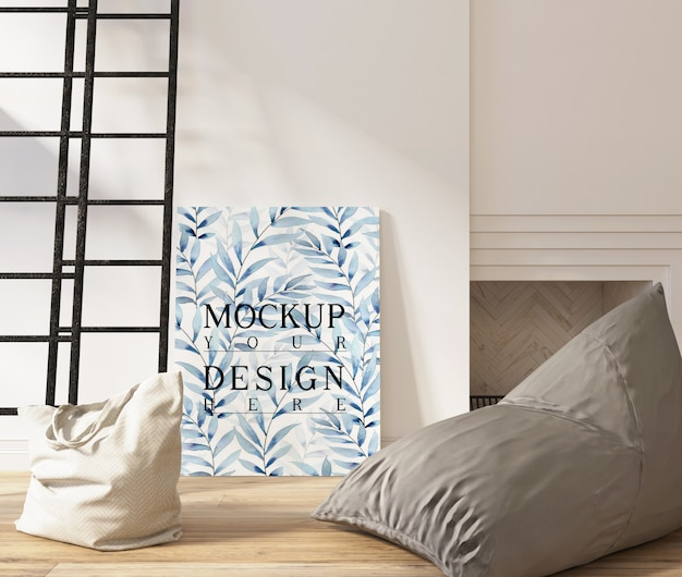 Plakat makiety w nowoczesnym białym salonie z pufą