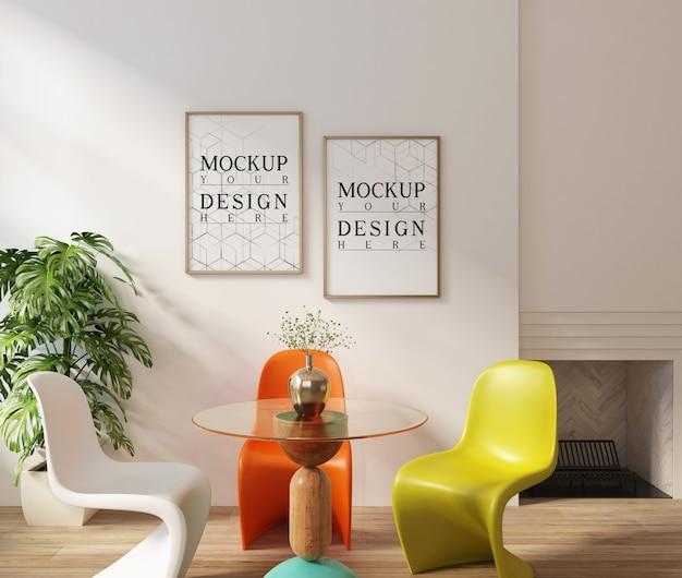 Plakat makiety w nowoczesnym białym wnętrzu z zestawem do jadalni