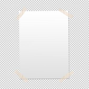 Plakat na białym tle z taśmą