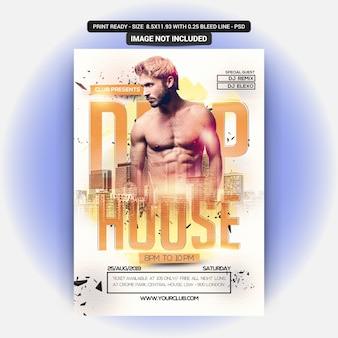Plakat na imprezę muzyczną deep house