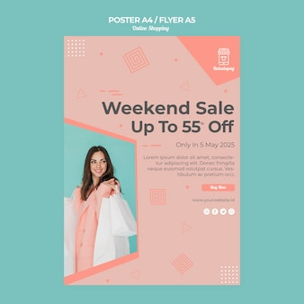 Plakat na zakupy online ze sprzedażą
