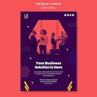 Plakat plakatowy rozwiązań agencji cyfrowych
