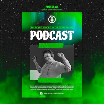 Plakat podcastowy o tematyce kosmicznej