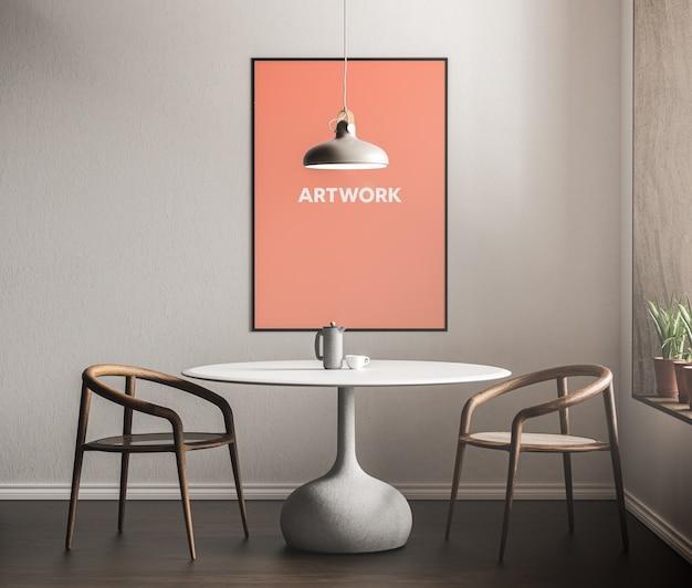 Plakat przed makietą stołu