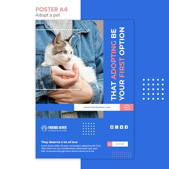 Plakat przedstawiający adopcję zwierzaka z kotem