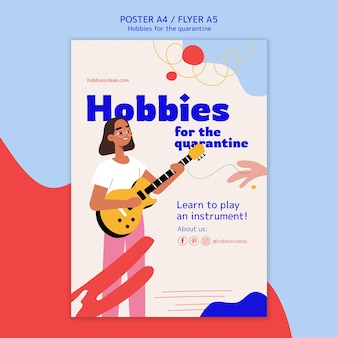 Plakat przedstawiający hobby podczas kwarantanny
