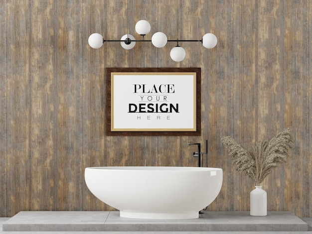 Plakat rama makieta wnętrza w łazience