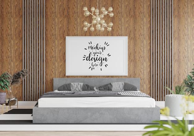 Plakat rama makieta wnętrza w sypialni