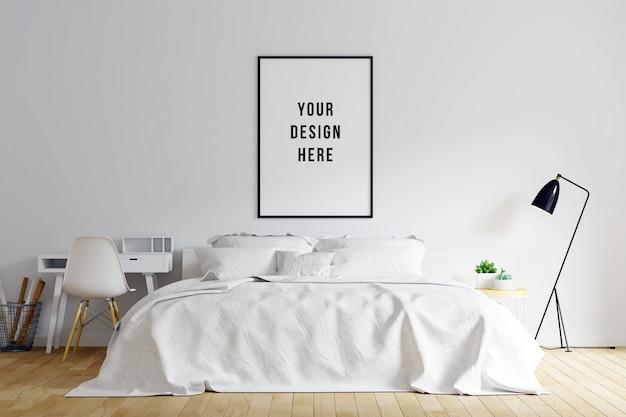 Plakat rama mockup sypialnia wnętrze z dekoracjami