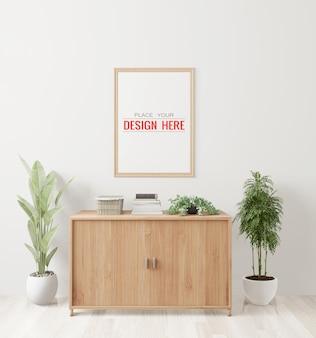 Plakat ramka makieta na ścianie z rośliną