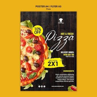 Plakat restauracji pizzerii ze zdjęciem