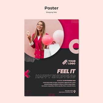 Plakat sprzedaży zakupów ze zdjęciem