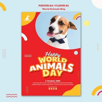 Plakat światowy dzień zwierząt szablon